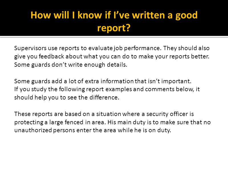 How will I know if I've written a good report