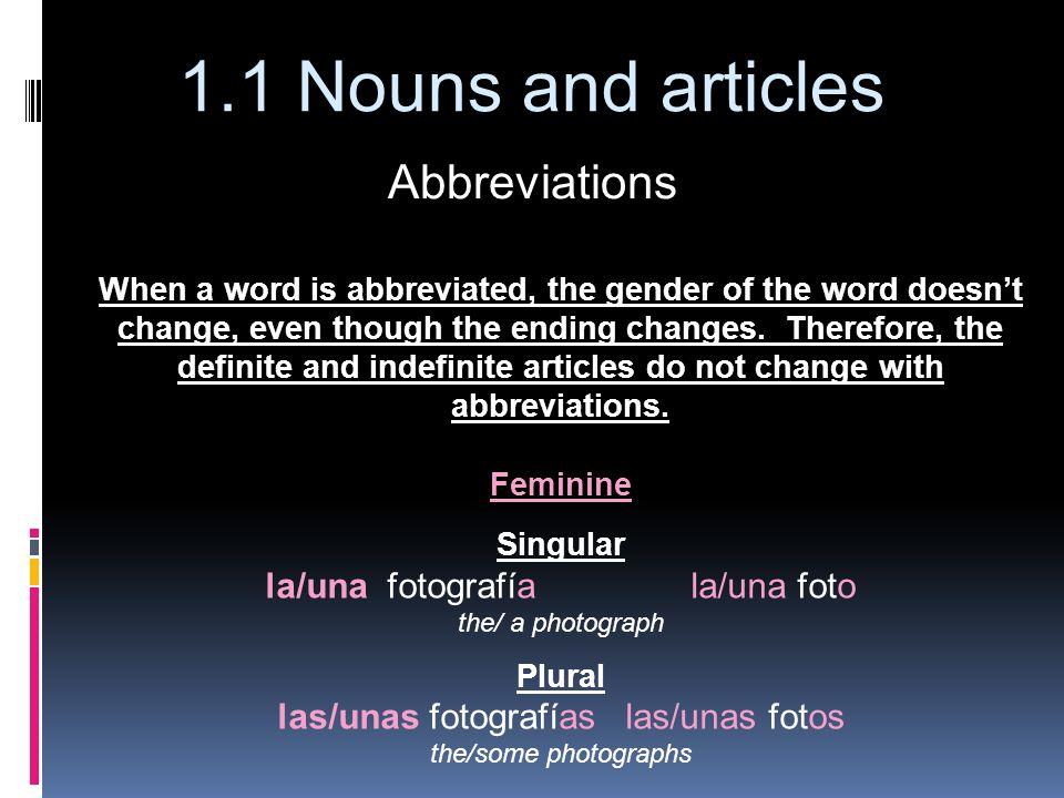 Abbreviations la/una fotografía la/una foto