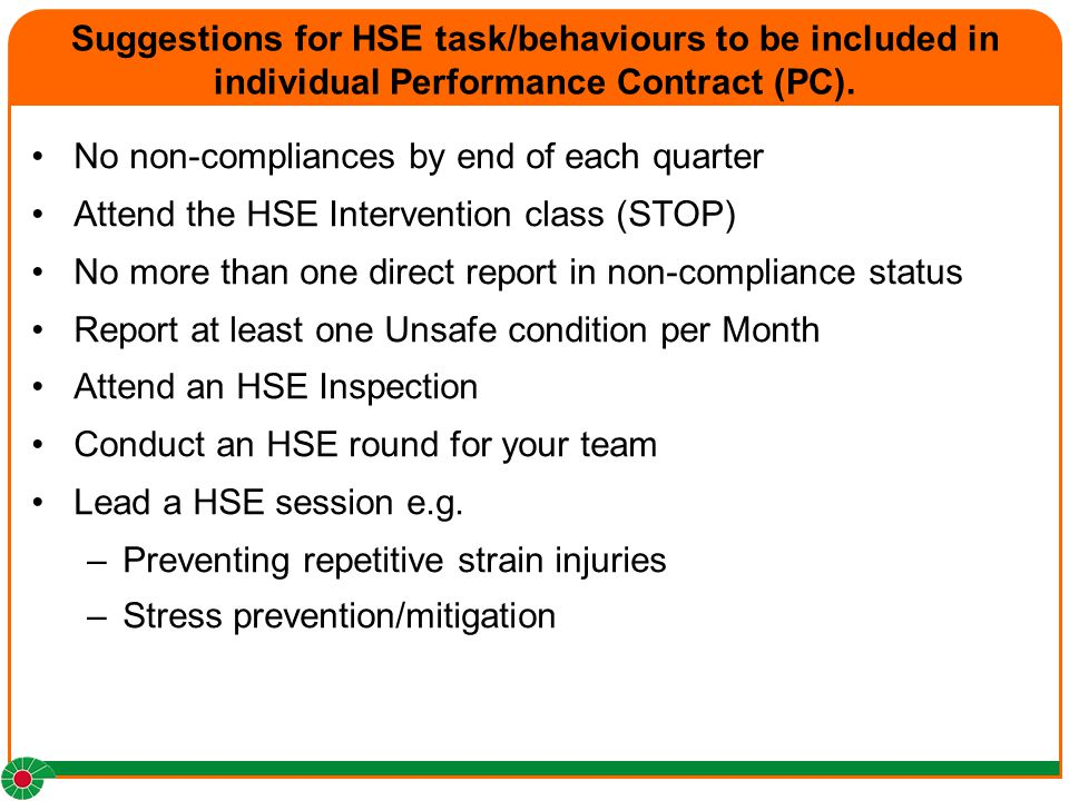Suggestions for HSE task/behaviours to be included in individual Performance Contract (PC).