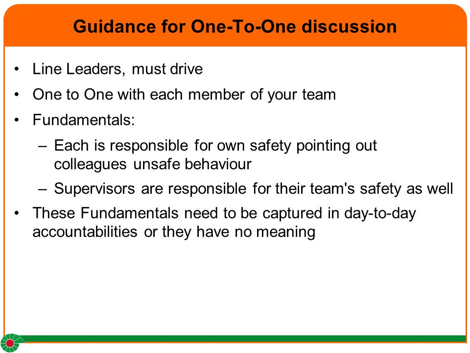 Guidance for One-To-One discussion