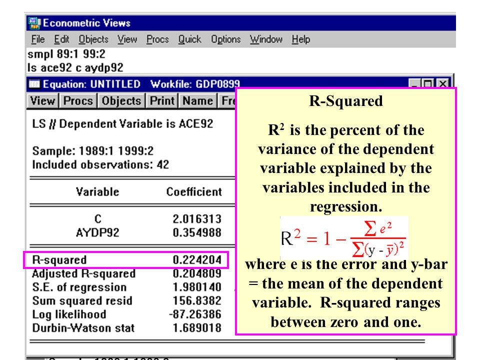 R-Squared R2 is the percent of the variance of the dependent variable explained by the variables included in the regression.