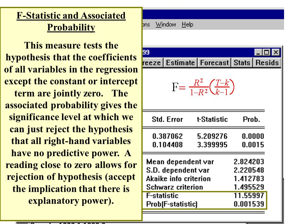 F-Statistic and Associated Probability