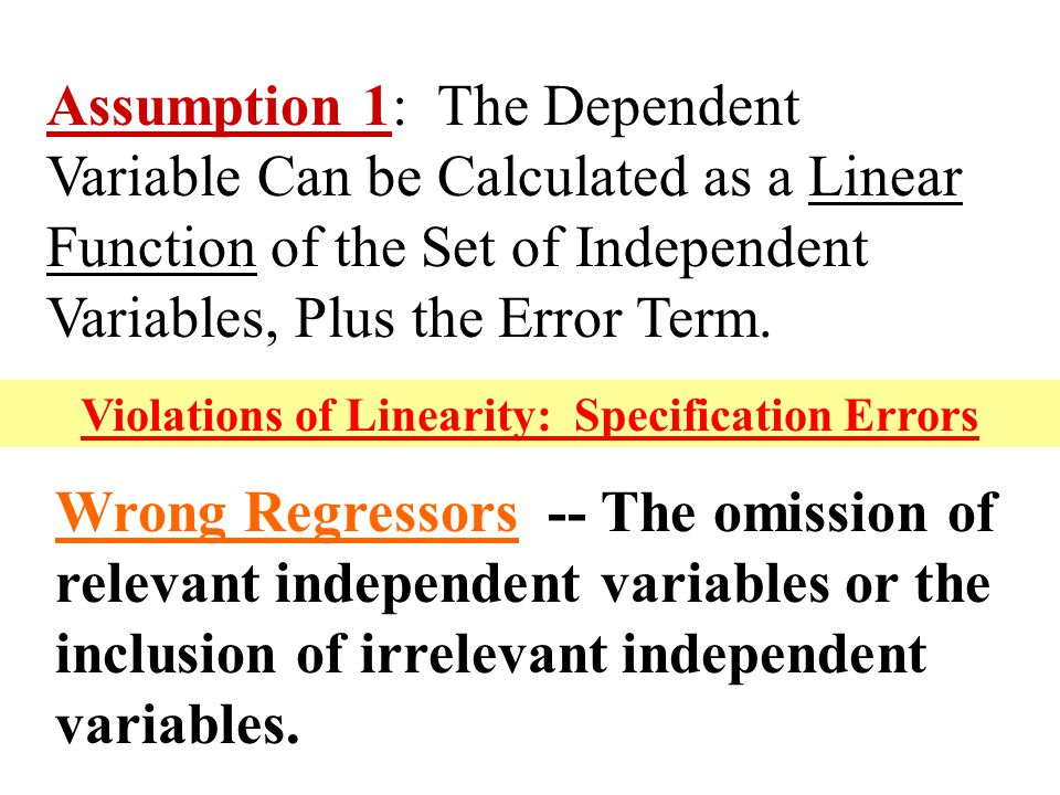 Violations of Linearity: Specification Errors