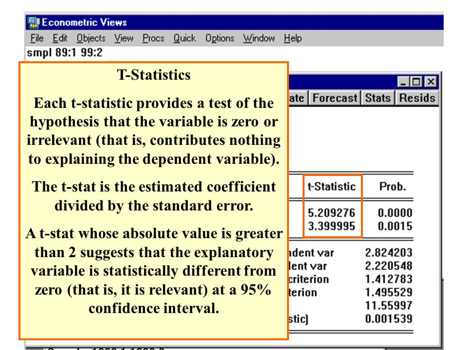 The t-stat is the estimated coefficient divided by the standard error.