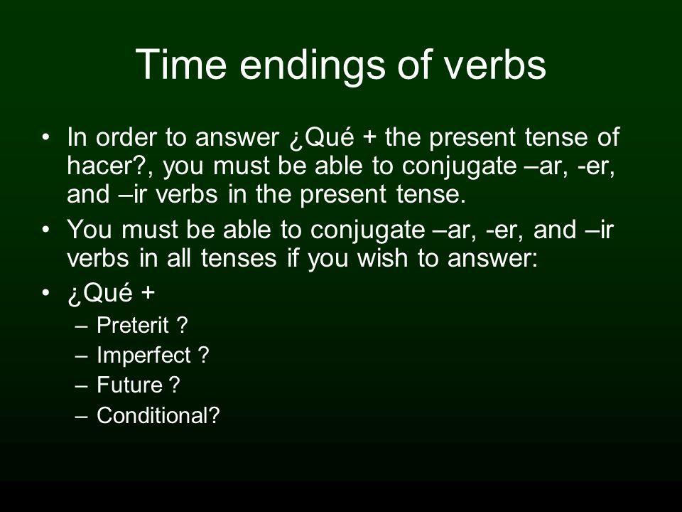 Time endings of verbs