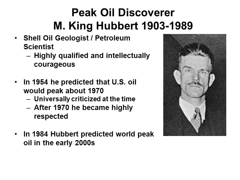 Peak Oil Discoverer M. King Hubbert 1903-1989