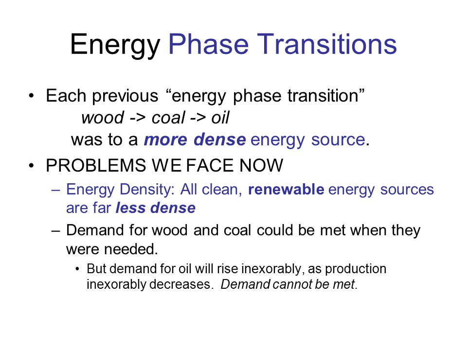 Energy Phase Transitions