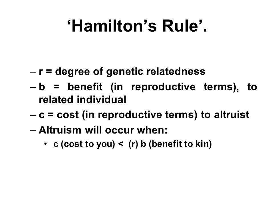'Hamilton's Rule'. r = degree of genetic relatedness