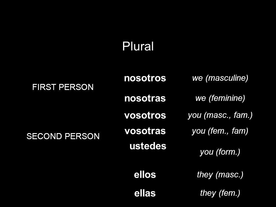 Plural nosotros nosotras vosotros vosotras ustedes (Uds.) ellos ellas