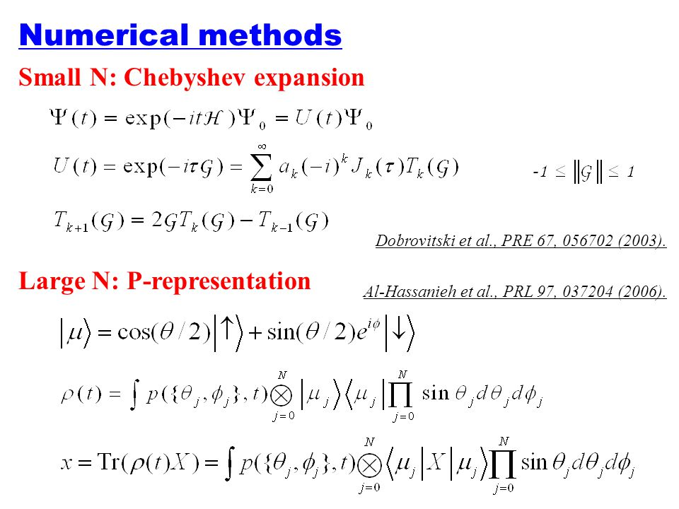 Numerical methods Small N: Chebyshev expansion