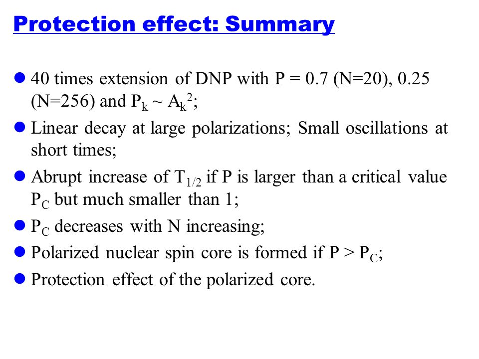 Protection effect: Summary