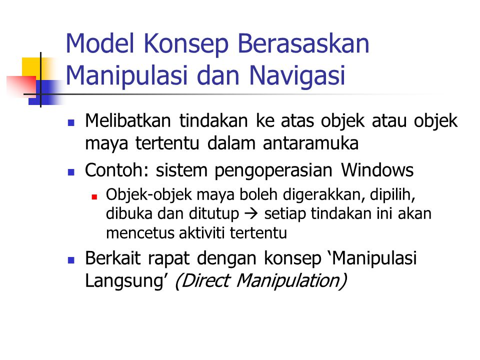 Model Konsep Berasaskan Manipulasi dan Navigasi