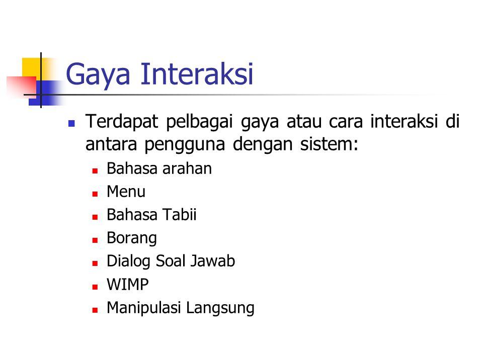 Gaya Interaksi Terdapat pelbagai gaya atau cara interaksi di antara pengguna dengan sistem: Bahasa arahan.