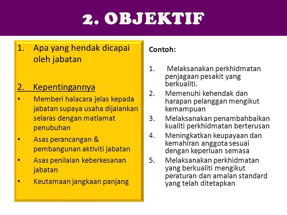 2. OBJEKTIF Apa yang hendak dicapai oleh jabatan 2. Kepentingannya