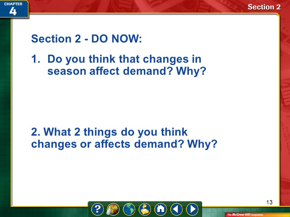 Do you think that changes in season affect demand Why
