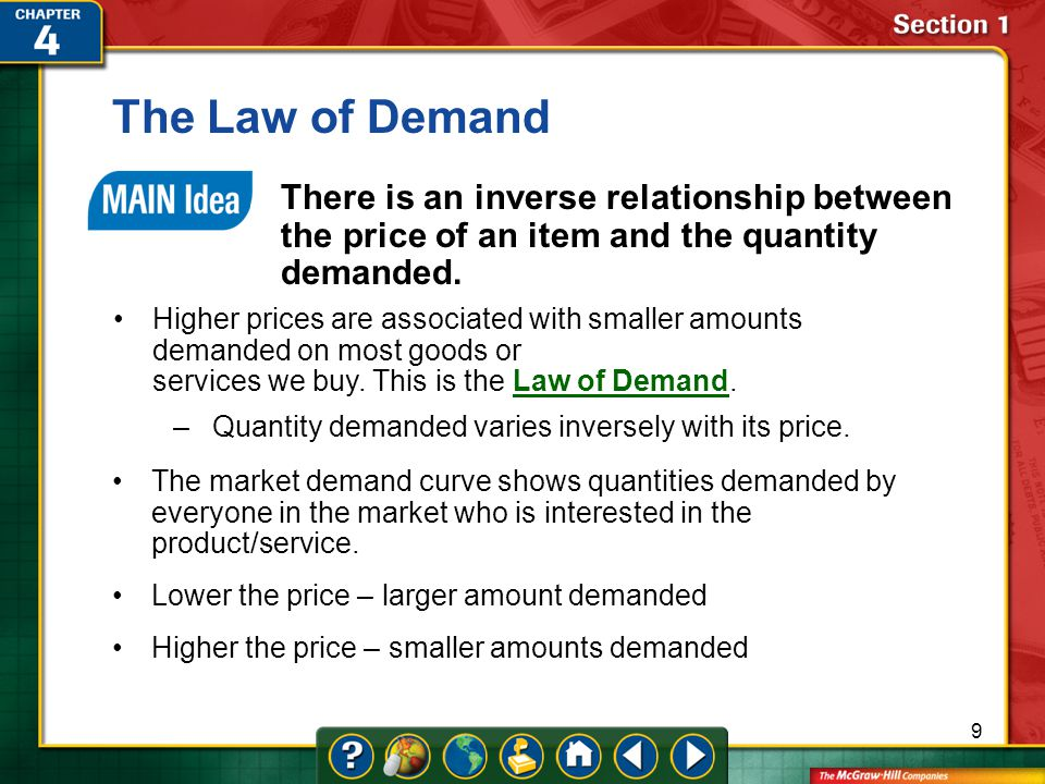 The Law of Demand There is an inverse relationship between the price of an item and the quantity demanded.