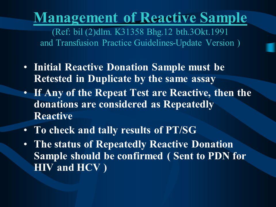 Management of Reactive Sample (Ref: bil (2)dlm. K31358 Bhg. 12 bth