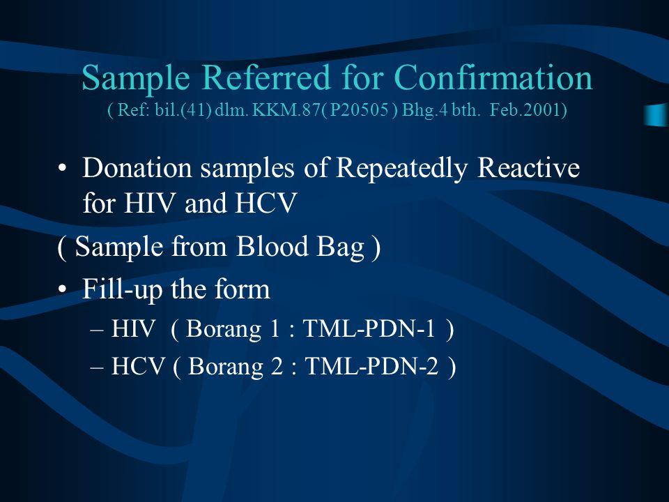 Sample Referred for Confirmation ( Ref: bil. (41) dlm. KKM