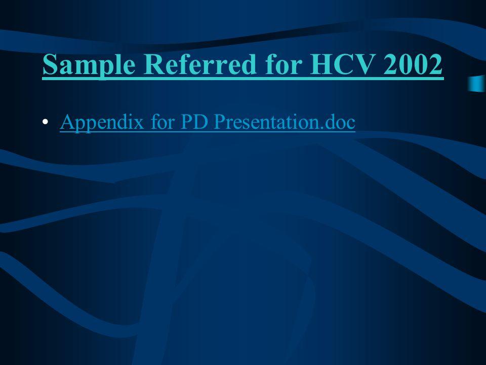 Sample Referred for HCV 2002