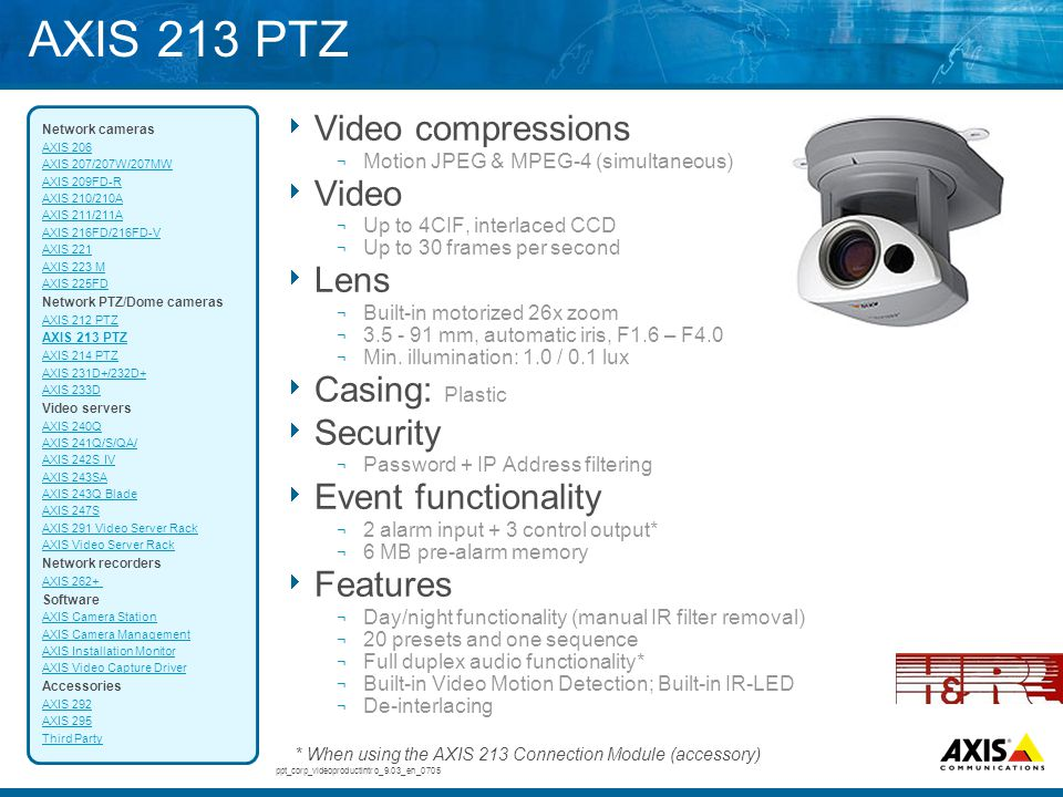 AXIS 213 PTZ Video compressions Video Lens Casing: Plastic Security