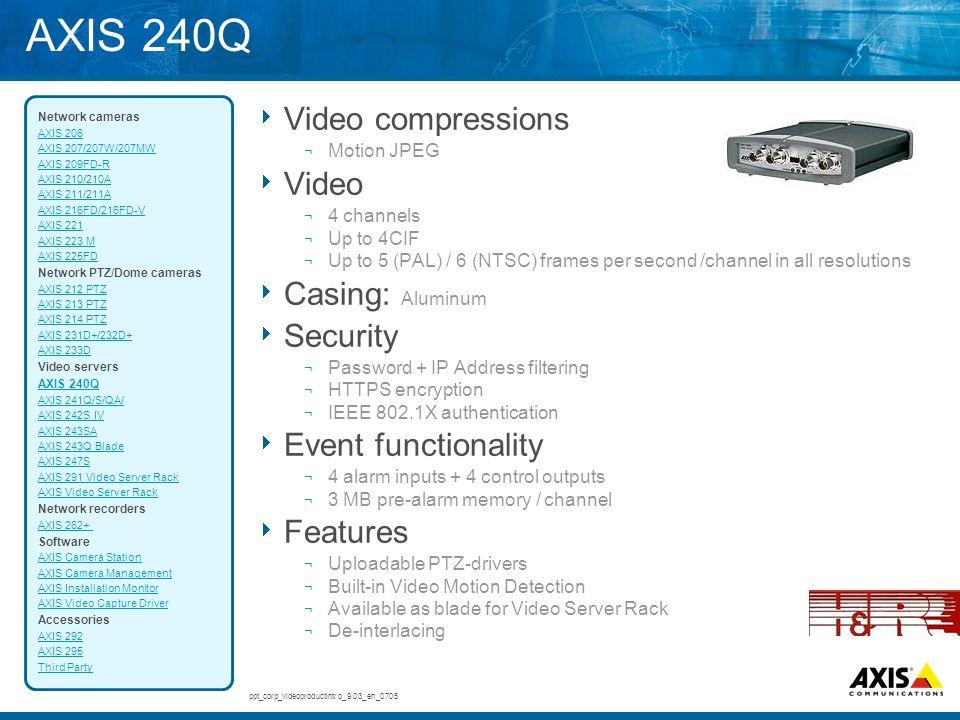 AXIS 240Q Video compressions Video Casing: Aluminum Security