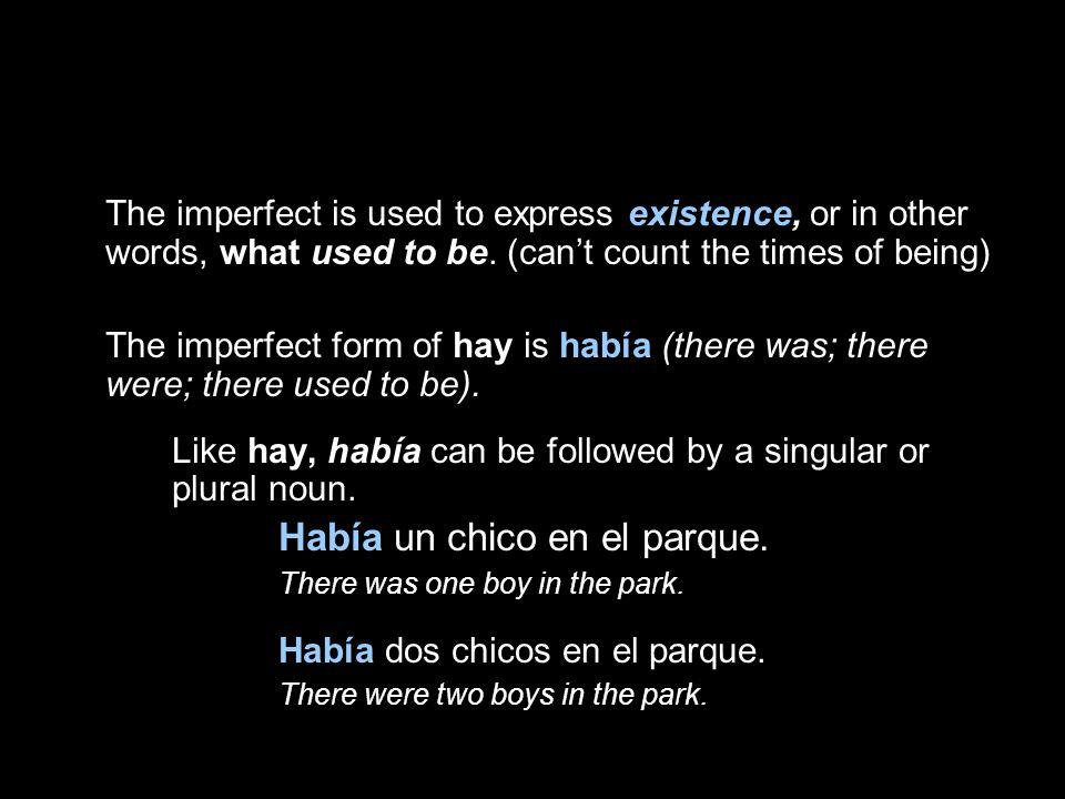 Había un chico en el parque. Había dos chicos en el parque.