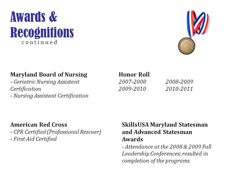 Awards & Recognitions Maryland Board of Nursing Honor Roll