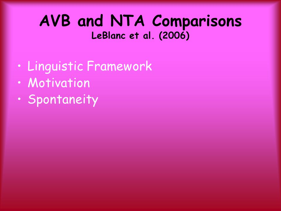 AVB and NTA Comparisons LeBlanc et al. (2006)