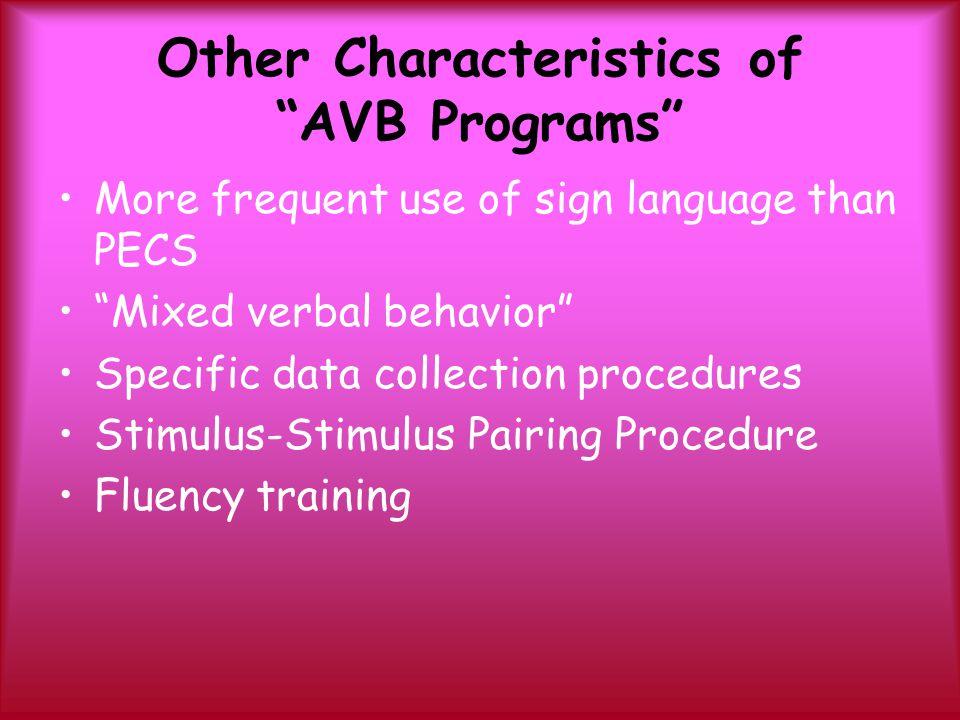 Other Characteristics of AVB Programs