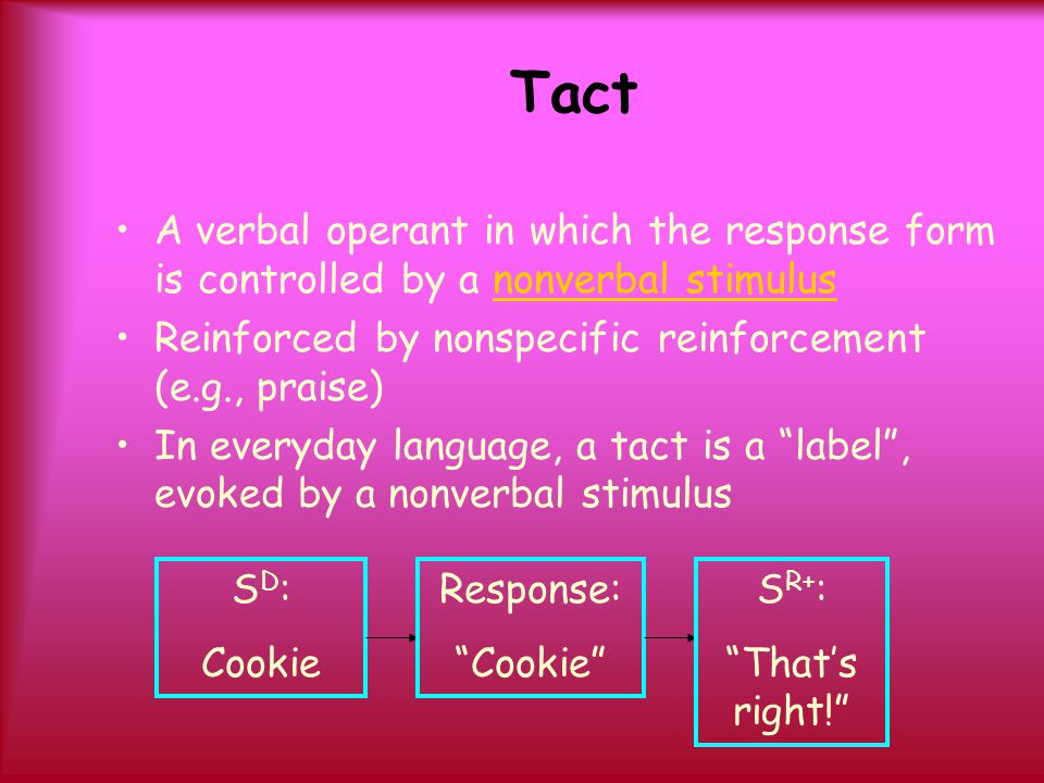 Tact A verbal operant in which the response form is controlled by a nonverbal stimulus. Reinforced by nonspecific reinforcement (e.g., praise)