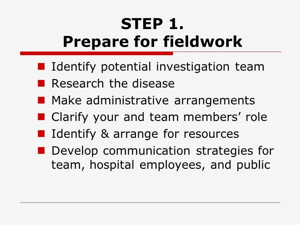 STEP 1. Prepare for fieldwork