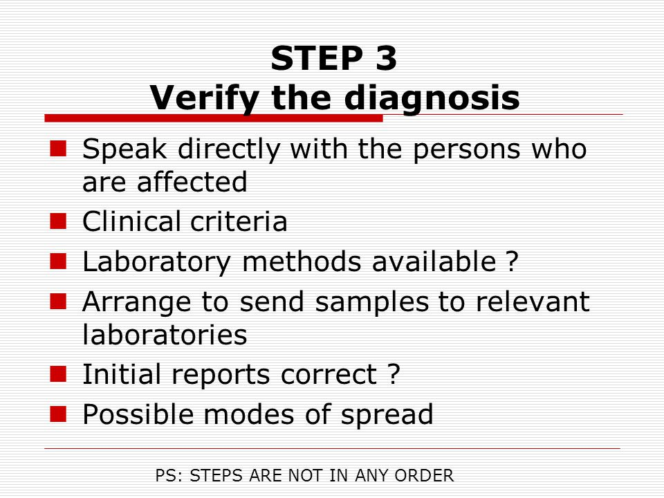 STEP 3 Verify the diagnosis
