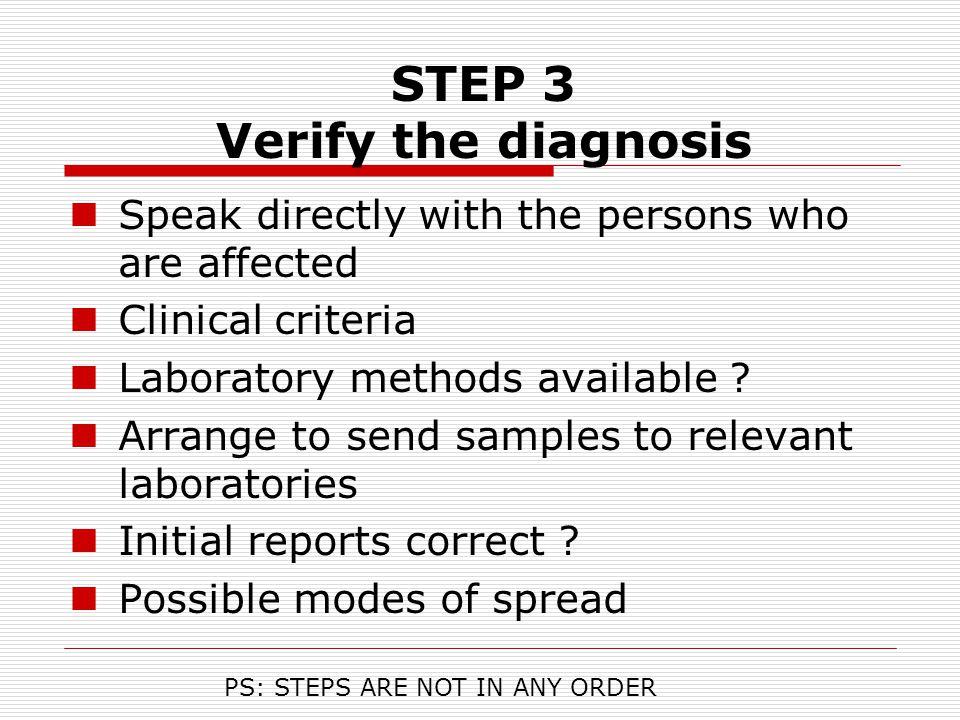 STEP 3 Verify the diagnosis