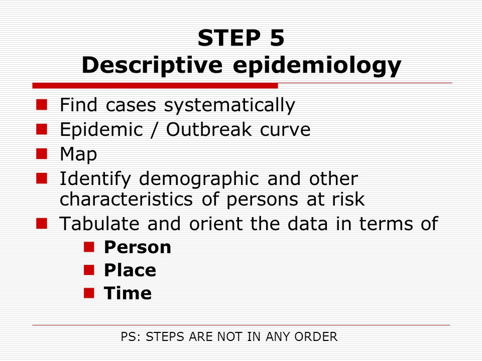 STEP 5 Descriptive epidemiology