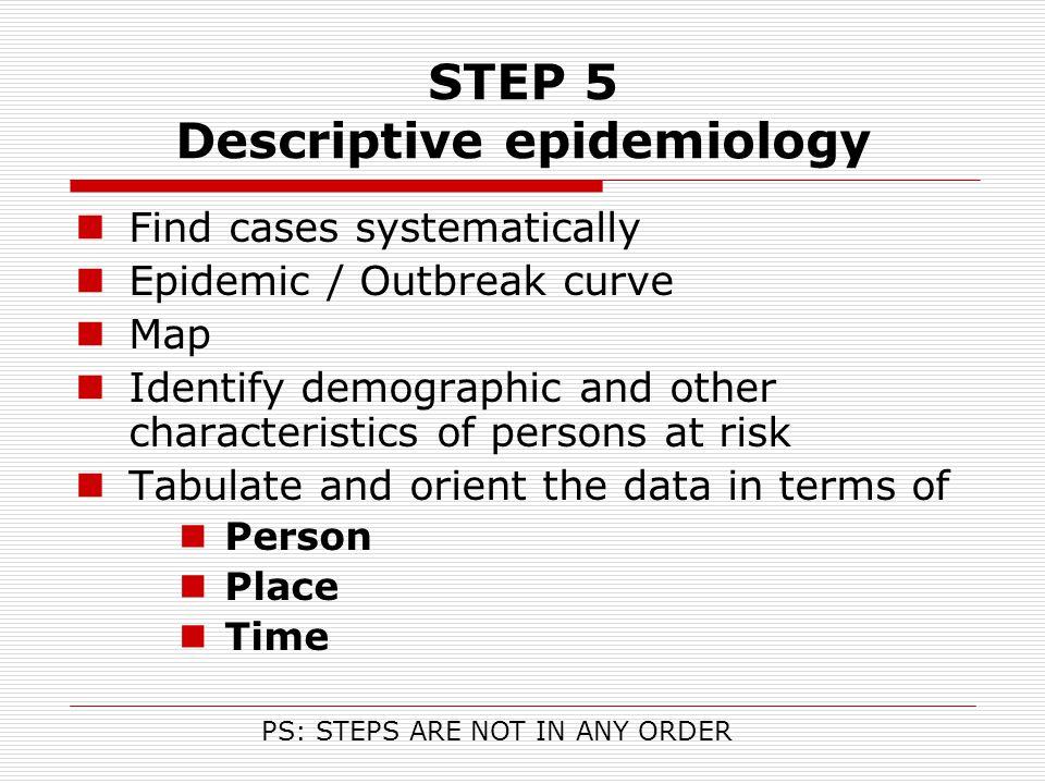 STEP 5 Descriptive epidemiology