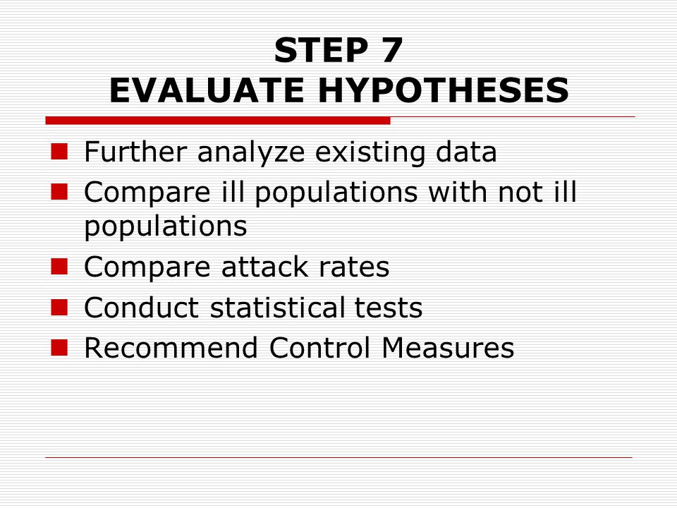 STEP 7 EVALUATE HYPOTHESES