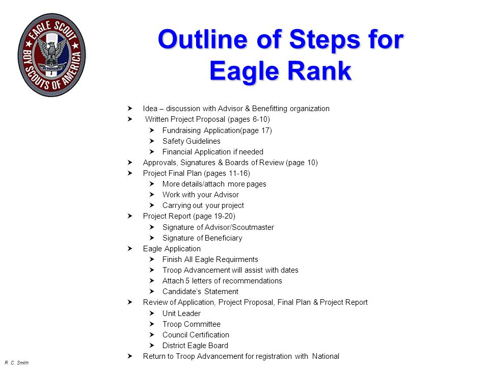 Outline of Steps for Eagle Rank
