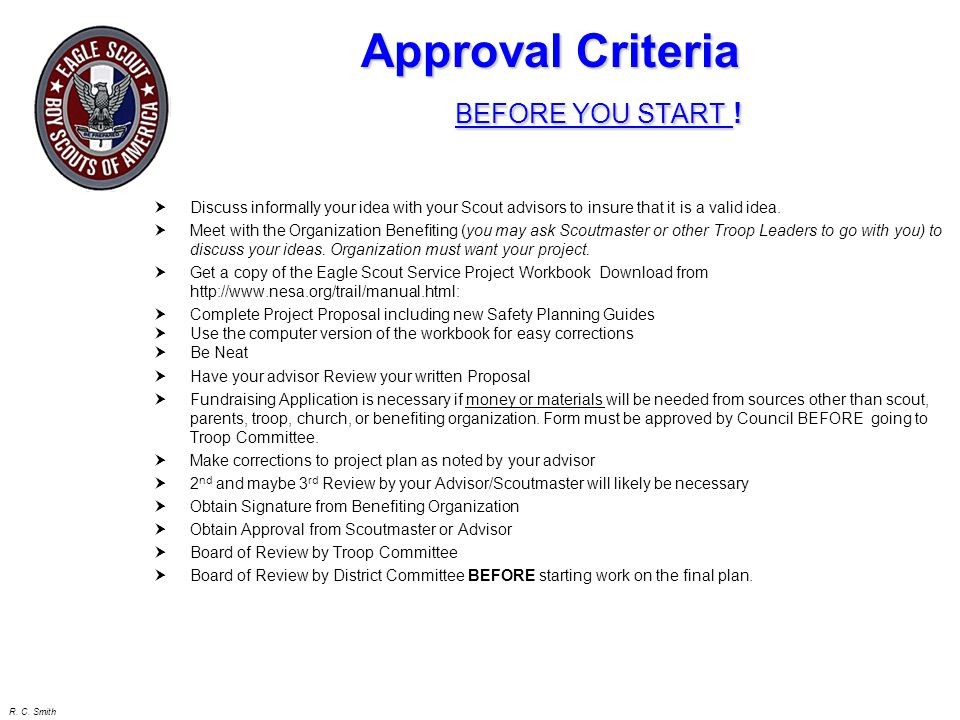 Approval Criteria BEFORE YOU START !