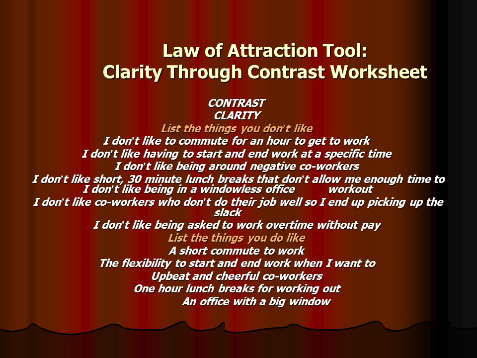 Law of Attraction Tool: Clarity Through Contrast Worksheet