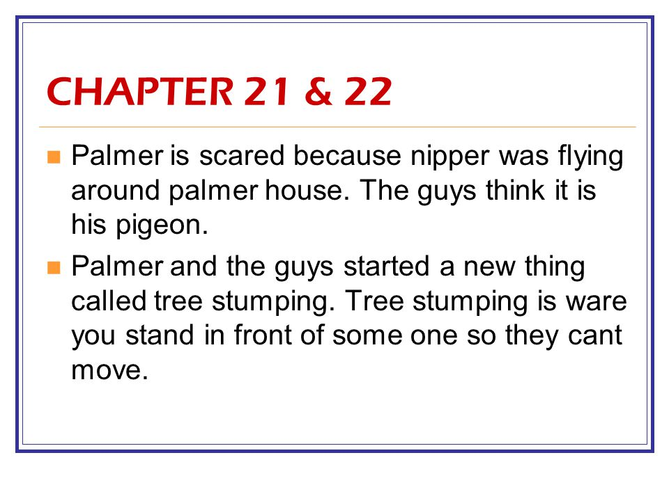 CHAPTER 21 & 22 Palmer is scared because nipper was flying around palmer house. The guys think it is his pigeon.