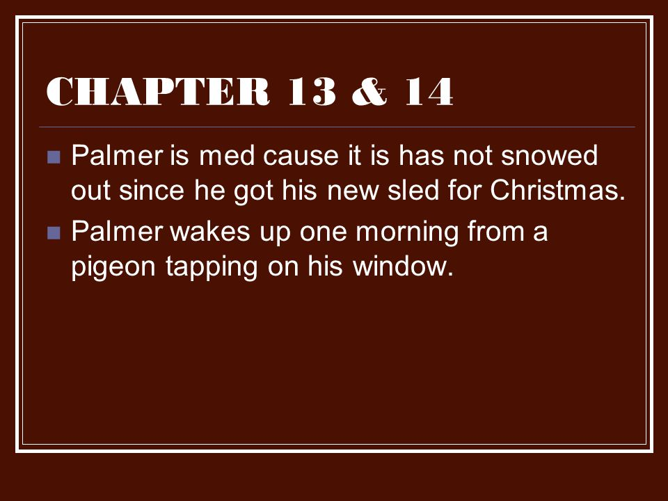 CHAPTER 13 & 14 Palmer is med cause it is has not snowed out since he got his new sled for Christmas.