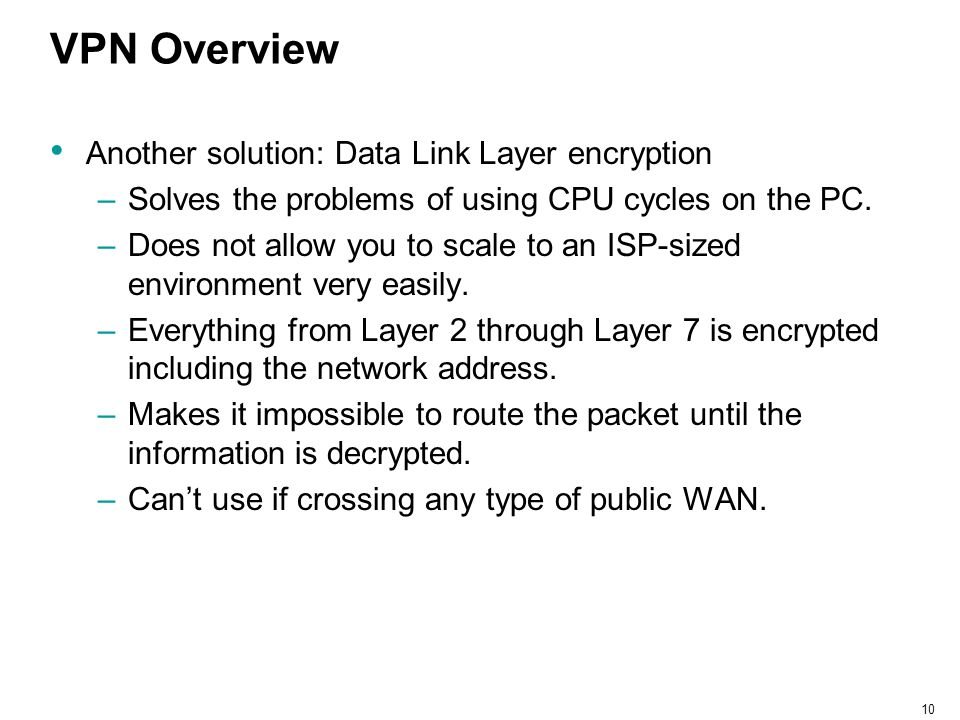 VPN Overview Another solution: Data Link Layer encryption
