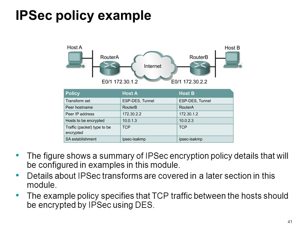 IPSec policy example The figure shows a summary of IPSec encryption policy details that will be configured in examples in this module.