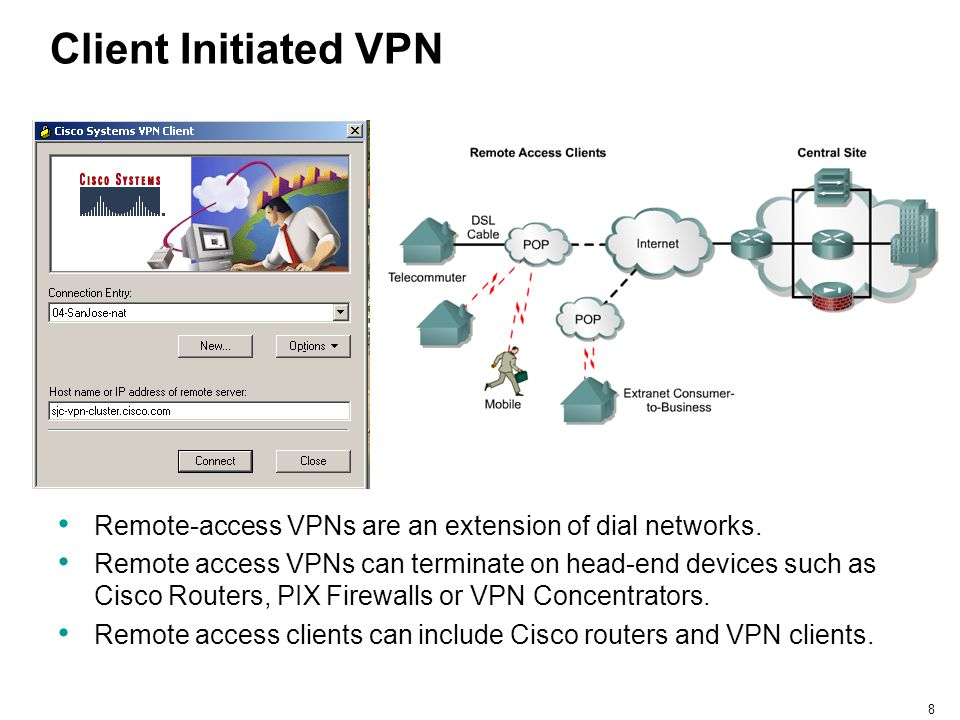 Client Initiated VPN Remote-access VPNs are an extension of dial networks.