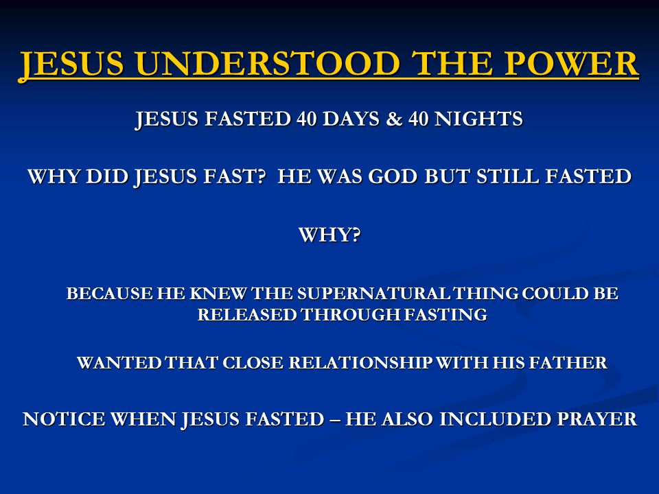 JESUS UNDERSTOOD THE POWER