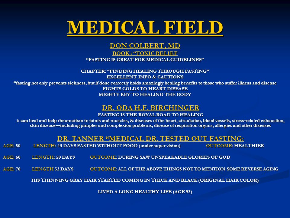 MEDICAL FIELD DON COLBERT, MD BOOK : TOXIC RELIEF