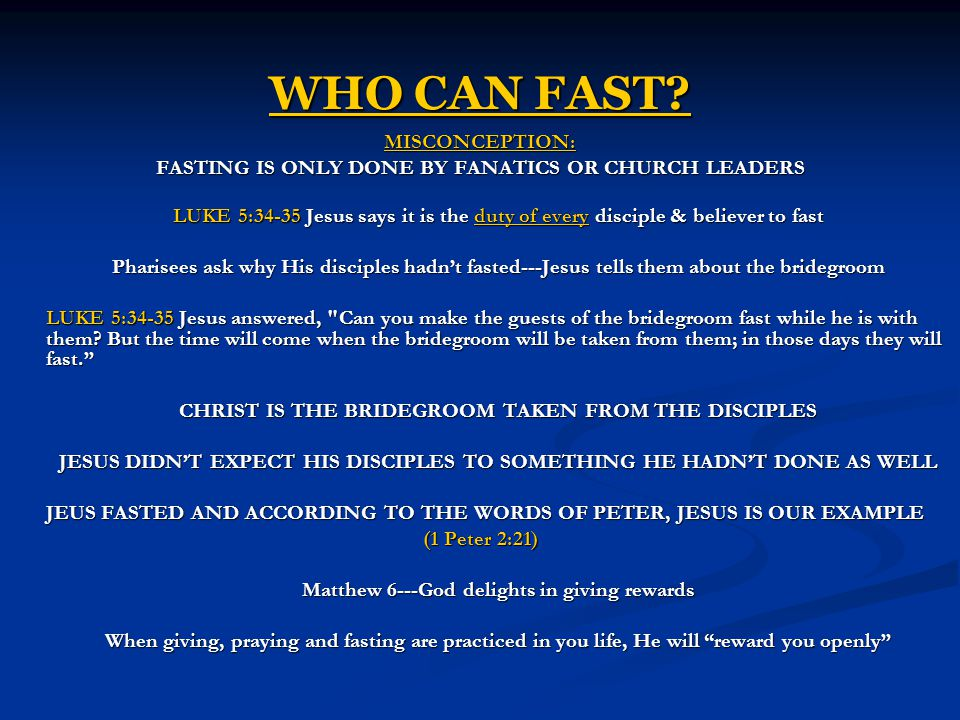 WHO CAN FAST MISCONCEPTION:
