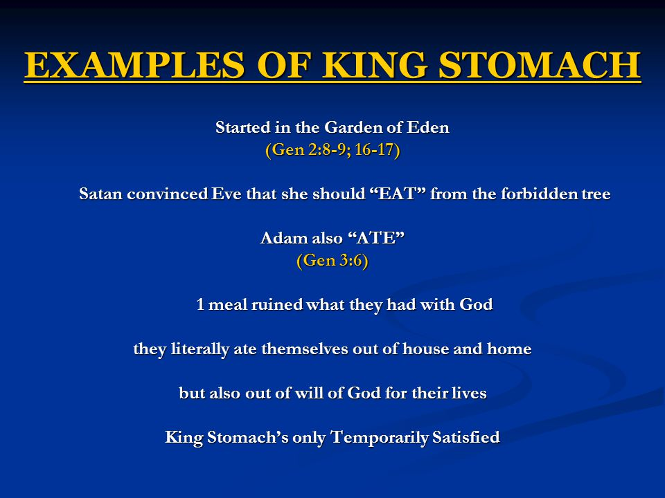 EXAMPLES OF KING STOMACH