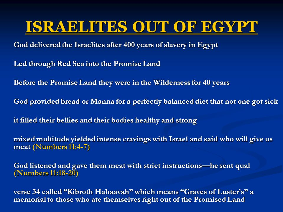 ISRAELITES OUT OF EGYPT