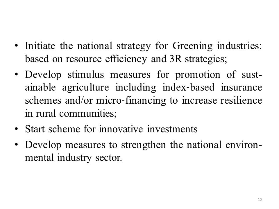 Initiate the national strategy for Greening industries: based on resource efficiency and 3R strategies;